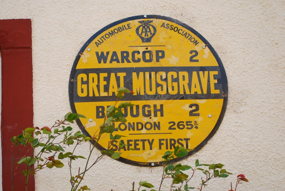 Great Musgrave, Nr Brough, Cumbria AA plaque