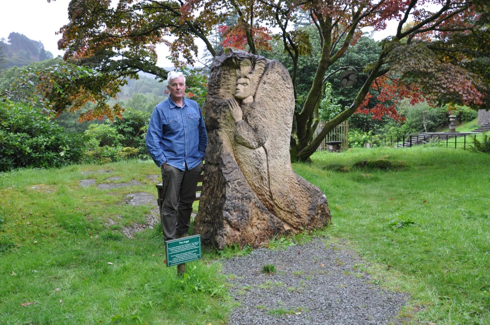 Shawn with Josefina's memorial at Rydal Hall