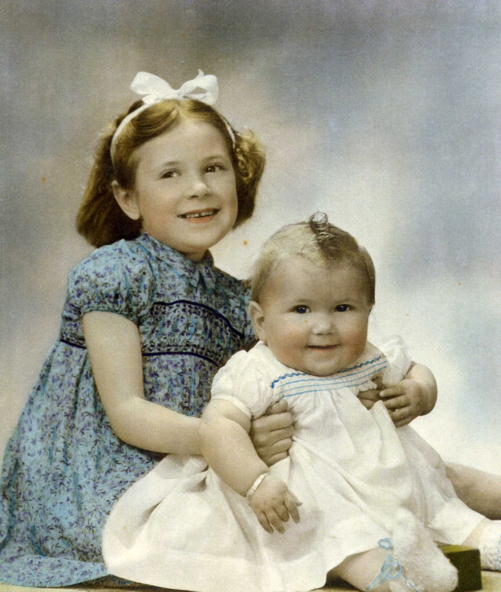 Gill and Me on her first birthday.  Marie Podmore Studio Nelson. 1945